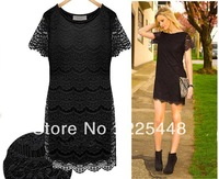 Free Shipping Women 2013 Summer New Arrival Brand High Quality Neon Short Sleeve Cheap Price Crochet Dress with Lace JB121457