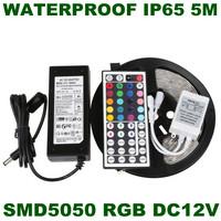 Wholesale ! RGB Waterproof 5050 SMD 5M 60led/m led Strip Flexible light +12V 6A Transformer + 44key IR Remote Freeshipping
