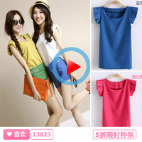 2013 summer women's summer Women top sleeveless loose white basic shirt chiffon shirt