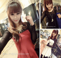 227 2013 winter one-piece dress fashion lace gauze patchwork puff sleeve elegant skirt