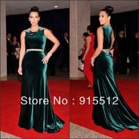 Red Carpet Sheath Green Jewel Neck Beaded Sweep Train 2013 Kim Kardashian Celebrity Dresses