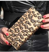 Genuine leather new family favorite bag punk skull purse female long single pull women wallet handbag card models WBG0817