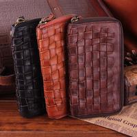 New Handmade Italy Genuine Leather Woven Clutch Wallets Vintage Cowskin Wallet Men Money Clip Zipper Purse Carterira TBG0107