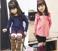 Spring New Arrival Children Clothing Set Long Sleeve Fly T Shirt Dress + Stripe Leggings Girls Set Kids Tight Pants Suit QZ384