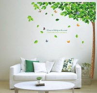 Green Tree Wall Sticker, Home Decor, Environmental Friendly Removable Wall Stickers, Free shipping TV Wall Decal