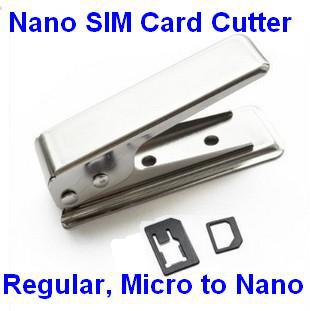 10pcs/Lot Stainless Steel iron Regular SIM Card to Nano Sim Card Cutter for iPhone 5 5S -Free Shipping(China (Mainland))