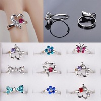 Wholesale Mix Lots 100pcs Cute CZ Rhinestone Children Kids Silver p Crystal Rings