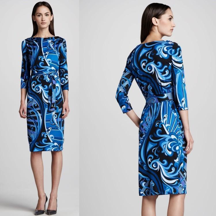 Free Shipping Women Blue Printed Slash Neck Slim Waisted Belt 3/4 Sleeve Jersey Day Dress Holiday Dress(China (Mainland))