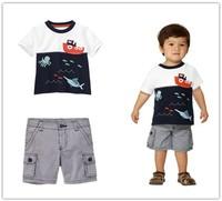 2014 New! Free Shipping!Children Summer Clothing Set,Boys Clothes Cotton T-shirt +Stripe Shorts 2pcs Kids Casual Clothing Set