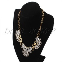 DSHL Gorgeous Statement Crystal Cluster Bubble Bib Diamante Necklace Wedding