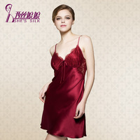 2014 NEW Elegant Red Wine 100% silk Lace pajamas sexy female strap tracksuit Spring 8609