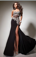 100% Guarantee Sweetheart Crystal Diamond Sexy High Slit Black Prom Dresses 2014 Cheap Price Under 100