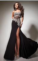 100% Guarantee Sweetheart Crystal Diamond Sexy High Slit Black Prom Dresses 2014 Cheap Price Under 100