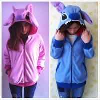 Fleece Cartoon Anime Animal Pink/Blue Stitch Women Men Couple Hoodie Hoodies with Ears Cute Hooded Sweatshirt Jacket S M L XL