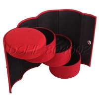 DSHL Red Suede Cylinder 3 Layer Jewelry Ring Organizer Storage Case Jewel Gift Box