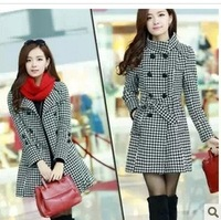 New Girls' Slim Long Sleeve Wool Coat fashion Turn-down Collar Plaid Double Breasted Cotton Outwear Thick big size M L XL 2XL3XL