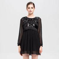 Petit 2013 autumn and winter mofan women's black long-sleeve dress