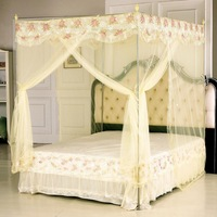 Three door princess overstretches thickening stainless steel French royal canopy bed curtains