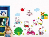 New arrival!! HOT SALE cartoon hello kitty wall sticker kids room wall decor
