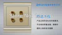 Wholesale 10pcs/lot 4 gold 86 type 220V 10A sound wall switch socket Acoustics Socket