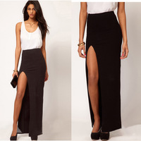Free Shipping Slim Womens Sexy Side Split Black Maxi Long Cocktail Dress Skirt Cotton Blended  Drop shipping