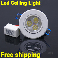 10pcs/lot 100% true 3X1W 3W Led Ceiling fixture Spot Light Led Downlight Lamp Spot Lamp Recessed Lamp kits With Driver