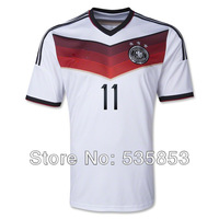 Free shipping!2014 Brazil World Cup Germany home white soccer jersey Germany 11#KLOSE jersey man football training shirts
