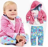 SH351 RETAIL Baby Girl's 3pcs suit set autumn clothing sets 100%cotton bow stripe hoody jacket +long sleeve shirts+ flower pants