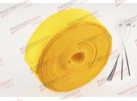 "FIBERGLASS Exhaust Thermo Wrap Tape High Heat 2"" x 1/16X25FT Cloth Roll YELLOW"