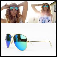 2013 New Brand Designer Fashion RB Mirror Sunglasses For Women Men Vintage Sun glasses Aviator Gradient Blue Lens Free Shipping