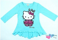 (3 Pcs/Lot) Wholesale Lovely Blue Imperial Crown Hello Kitty Children Girls Cotton Lotus Leaf Dress