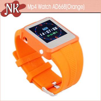 2013 мода Mp4 часы-плеер FM радио Mp3 / Mp4 часы оранжевый часы с длинным ремешком бесплатная доставка