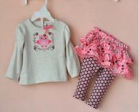 Spring Fall Baby Girls Clothes Long Sleeve Bird Embroidery T Shirt + Tutu Skirt Pants Toddler Girls Set 0-24 Babies Suit QZ390