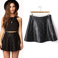 Fashion small 2013 half-length PU short skirt a-line skirt beaded handmade rivet leather short skirt