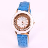 Dropship wholesale rose gold plated quartz watch women brand alloy leather chain rhinestone quartz crystal ladies watch