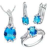 New 2014 Design Top Austrian Crystal 18k Platinum Plated Jewelry Sets including Necklaces & Pendant Earrings Ring Free Shipping