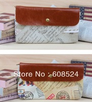Free shipping New vintage european style reminiscent stamp pattern PU pencil Bag / pen case / Cosmetic Pouch / Wholesale