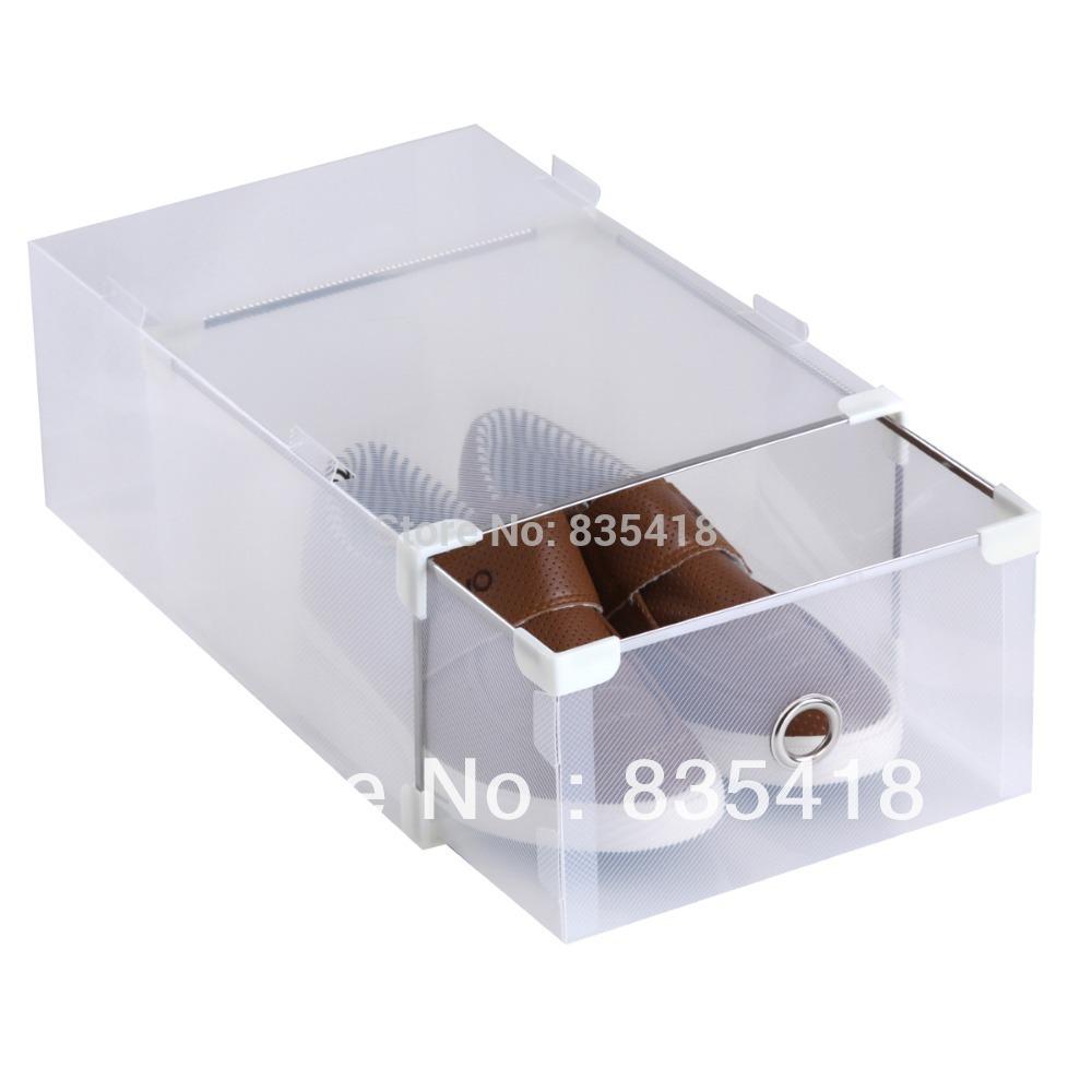 Frete grátis - caixa de armazenamento de plástico da gaveta caixa de sapato de cristal capa dura de plástico pp transparente as caixas de sapato de plástico transparente(China (Mainland))