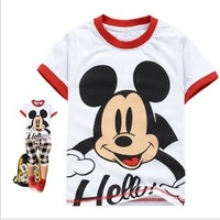 Free Shipping Hot Sell 1PC/Lot NEW Children Boy&Girl Cute Cartoon  Summer Short Sleeve T Shirts 100% Cotton kids Baby Birthday
