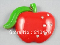 10PC Big Red rhinestone resin Apple Flatback the the Buttons Scrapbooking DIY