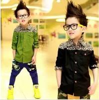 Free shipping 2013 new autumn cotton clothing fashion personality boy long sleeve shirt, children's shirt A189