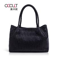 2013 sheepskin woven bag genuine leather handbag fashion big bag shoulder bag women's handbag
