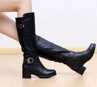2013 New Fashion Women's Winter Warm Long Snow Martin Boots Lady Genuine Leather Motorcycle Boots Shoes Free Shipping