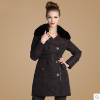 Winter British style Women's Large Rex Rabbits Fur Collar Down Coat Long Slim Duck Down Coat  Women Down Jacket