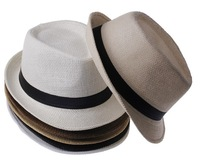 Free Shipping 2014 Fashion Unisex Solid Braid Fedora Trilby Gangster Cap Summer Beach Sun Straw Panama Hat