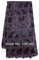 2014 African lace new design for wedding dress,purple+black big organza lace fabric with sequins free shipping,5 yards,TKL1951