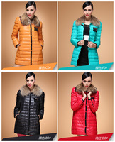 Luxury Large Detachable Raccoon Collar Fur Women's Long Slim Duck Down Coat  For Women Down Jacket