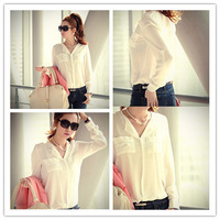 Chiffon Solid Long Sleeve Blouse Button  Shirt Free & Drop White Blouse Chest Pocket Loose Sexy Women T-Shirt Free Shipping