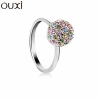 RiA001 Thick Rhodium Plated Classic Colorful Earth Ring Made With Top Austrian Crystal Free Shipping