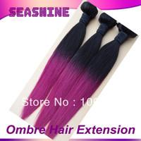 5A Premium Quality Malaysian Virgin Hair Ombre Hair Extensions silky straight  Two Tone Human Hair Weave 3 Pcs Lot 1B Purple DHL